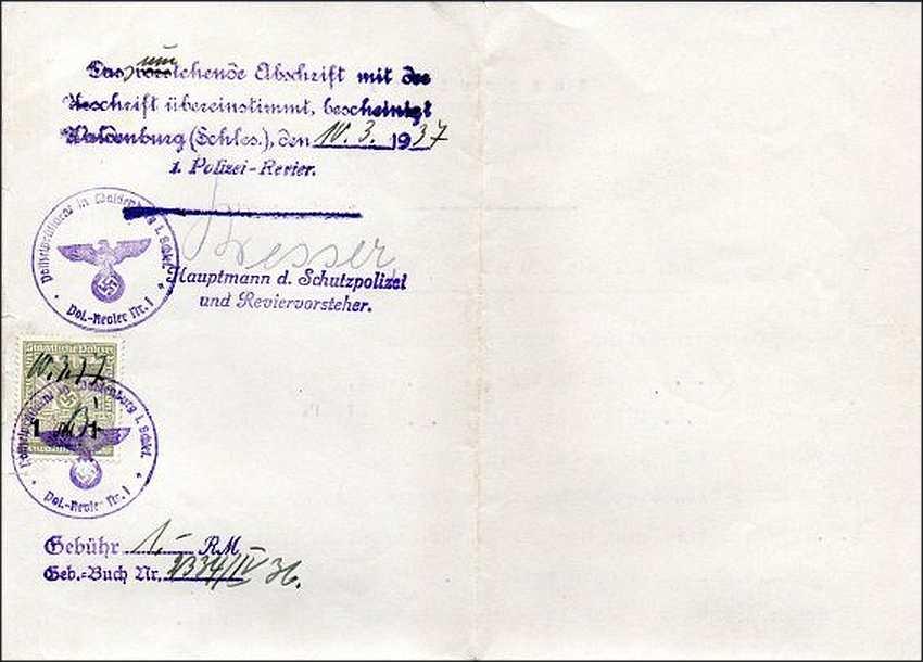 Zdj.18 Schutzpolizei Waldenburg pismo urzędowe. Foto nn
