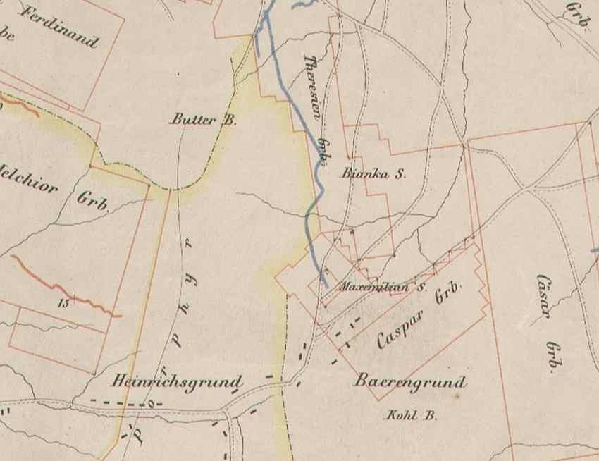Rys. 3 Stare pola górnicze w sąsiedztwie szybu Kriegs Scht.