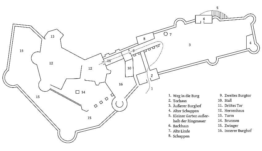 Zdj.1 Plan zamku Kynsburg z Piekarnią